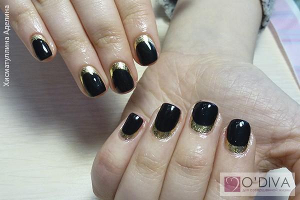 Дизайн черных с золотом ногтей гель лаком