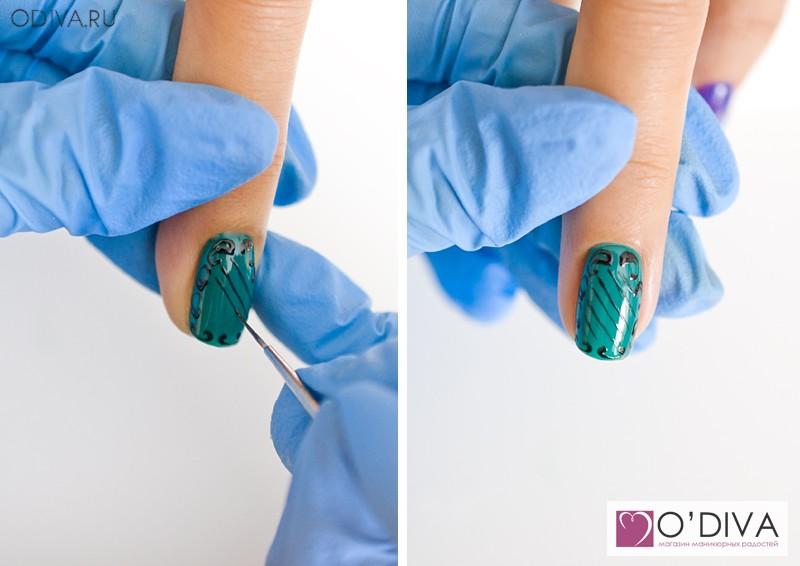 4_4 Вензеля на ногтях пошагово фото для начинающих