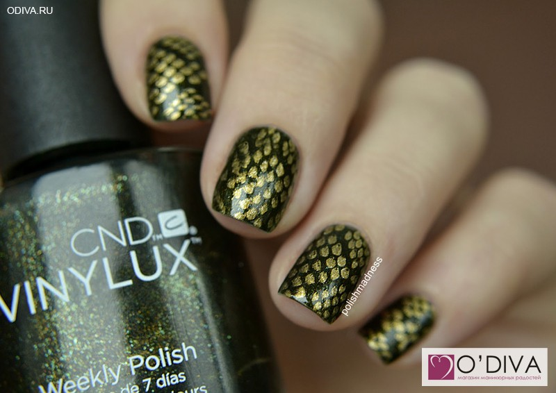 CND Vinylux Pretty Poison #127 и CND Vinylux Weekly Top coat зеленый змеиный маникюр
