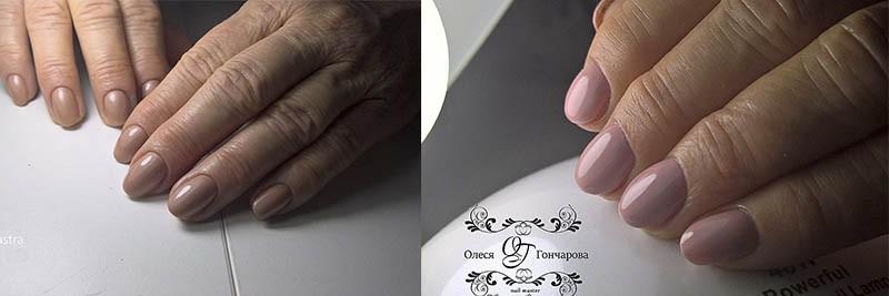 нюдовый дизайн ногтей для женщин в возрастном маникюре