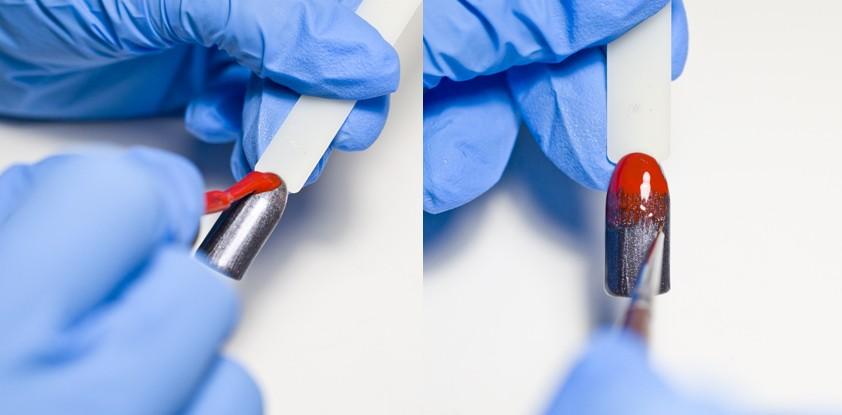 Маникюр с градиентом на ногтях красный градиент
