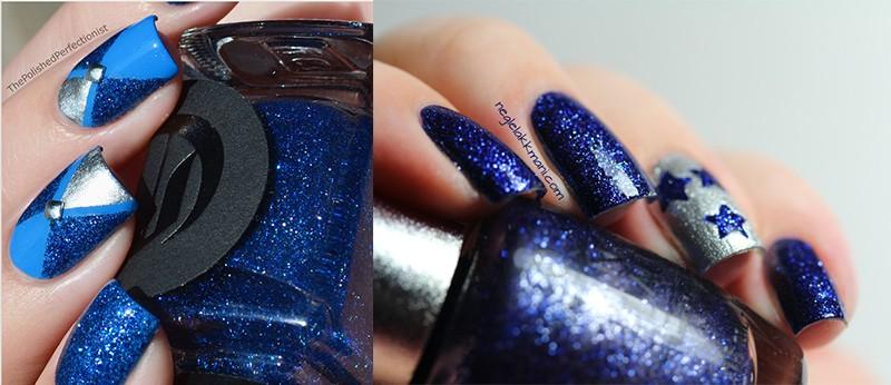 Богатый синий оттенок в маникюре Lapis