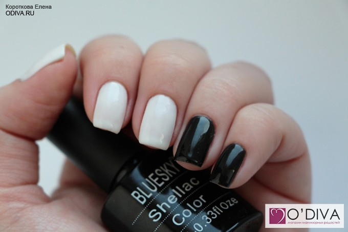 Bluesky shellac color / гель-лак Black&White А21 и А41